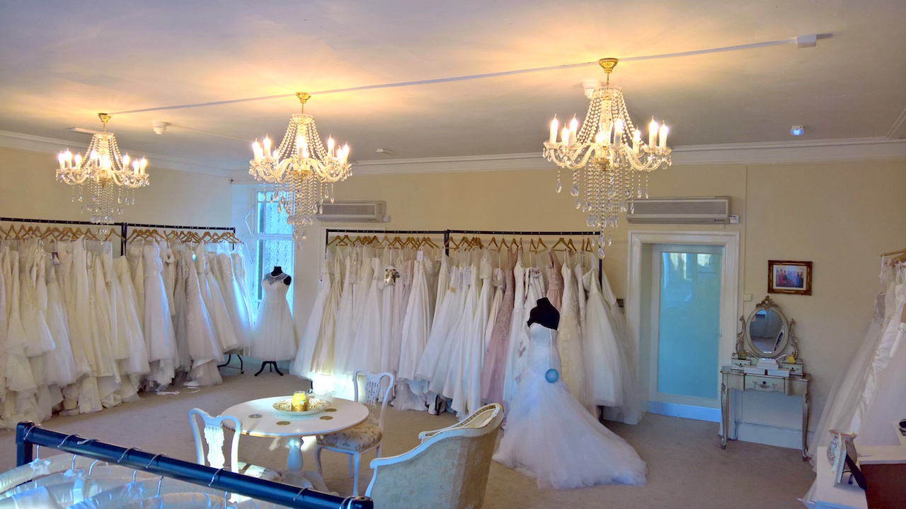 A view of the luxurious bridal boutique at Brides & Belles Dalbeattie.Dumfries and Galloway Scotland Annan Lockerbie  Newton Stewart Castle Douglas Thornhill Kirkcudbright Stranrare Carlisle Cumbria
