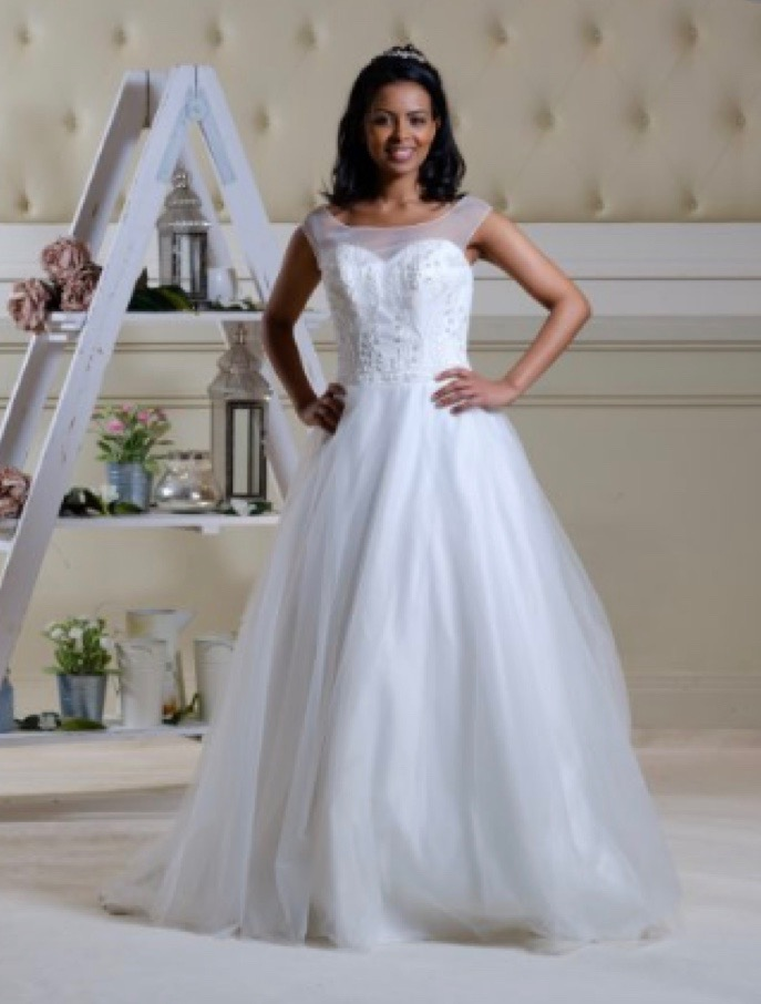 Full skirted wedding gown with a sweetheart neckline, front view