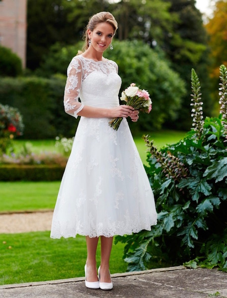 A Tiffany's cocktail length wedding dress from Brides n Belles Dalbeattie