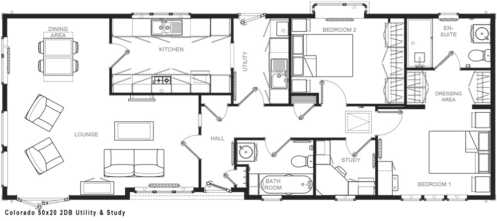 Internal layout of the Colorado Park Home showing the lounge and dining area, kitchen with utility room and two bedrooms