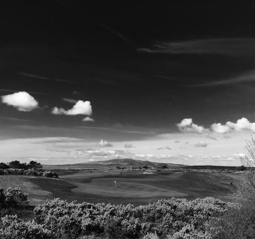 Black and white image of the Powfoot Golf Course beside the Powfoot Hotel in Southern Scotland