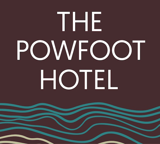 The Powfoot Hotel logo in chocolate brown with teal sea waves under the name