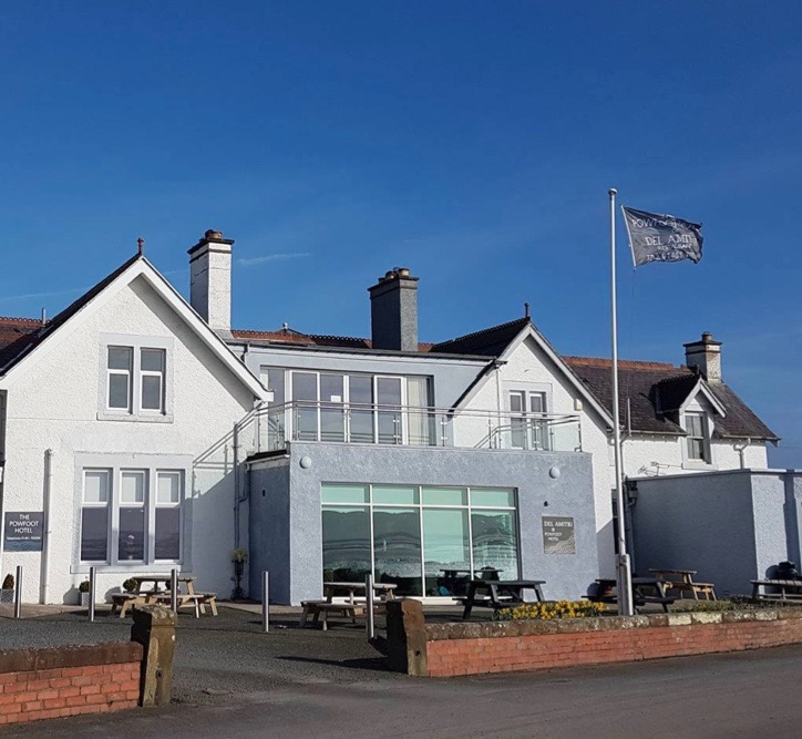 Front view of Annan's Powfoot Hotel on the Solway Firth