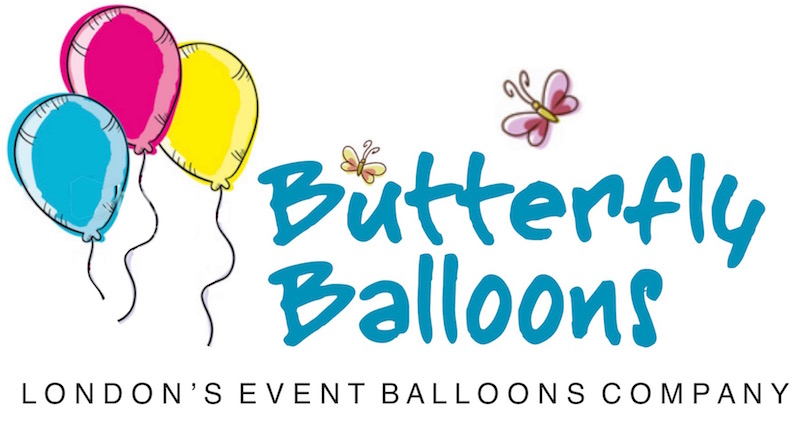 Butterfly Balloons logo depicting three colourful balloons with butterflies flitting around the wording