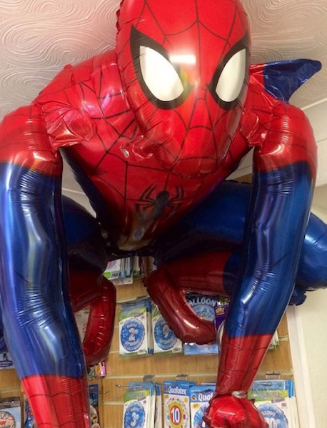 Spiderman balloon supplied by Butterfly Balloons London