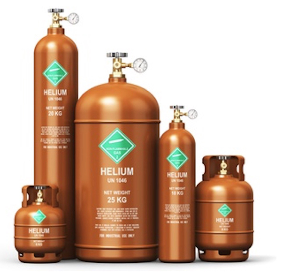 A range of helium canisters of varying sizes