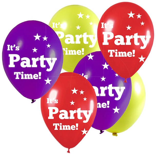 Red, yellow and purple Party Time balloons