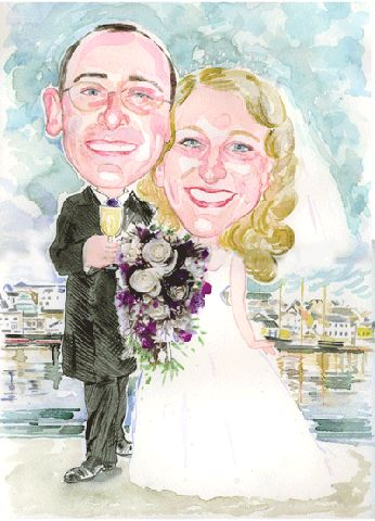 Happy couple personalised wedding caricature portrait by Elissa Milsome