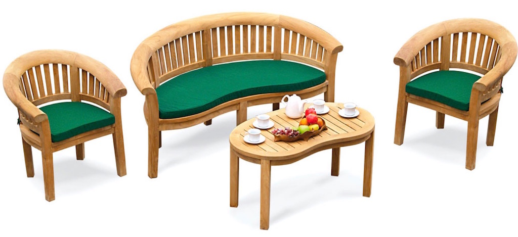 Complete Washington Bow garden furniture set with bench, two chairs and coffee table