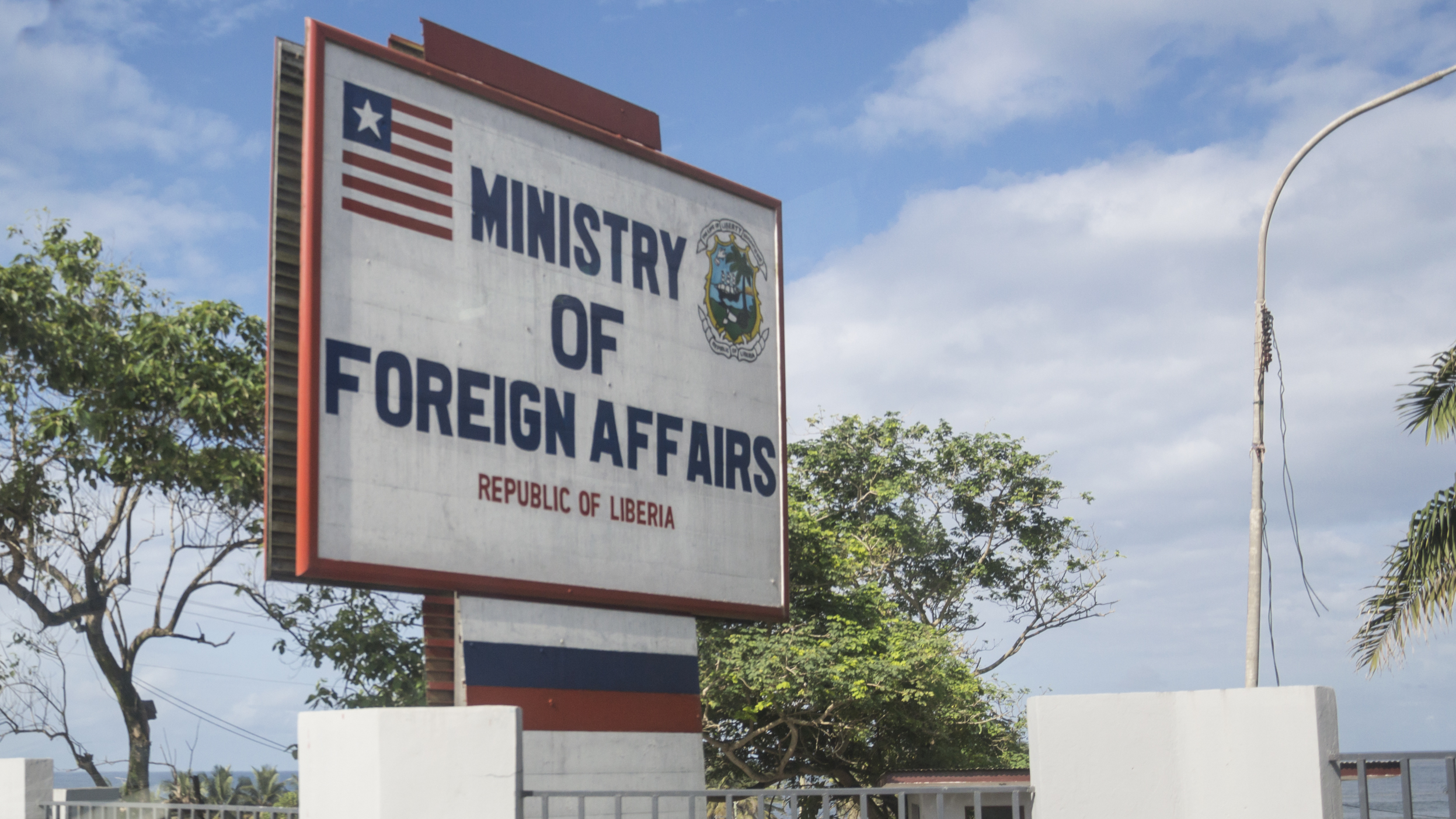 Outside the ministry of Foreign Affairs, Monrovia, Liberia