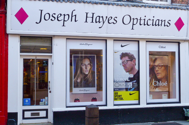 Joseph Hayes Opticians Shrewsbury Shropshire Qualified Independent Optometrists Family Business Personal Service Long Established Children's Play Area Spectacles Glasses Sunglasses Sports Glasses Varifocals Varilux Contact  Lenses Acuvue Eye Tests Retinal Imaging Designer Frames Budget Frames NHS Eye Tests NHS Vouchers Reputable