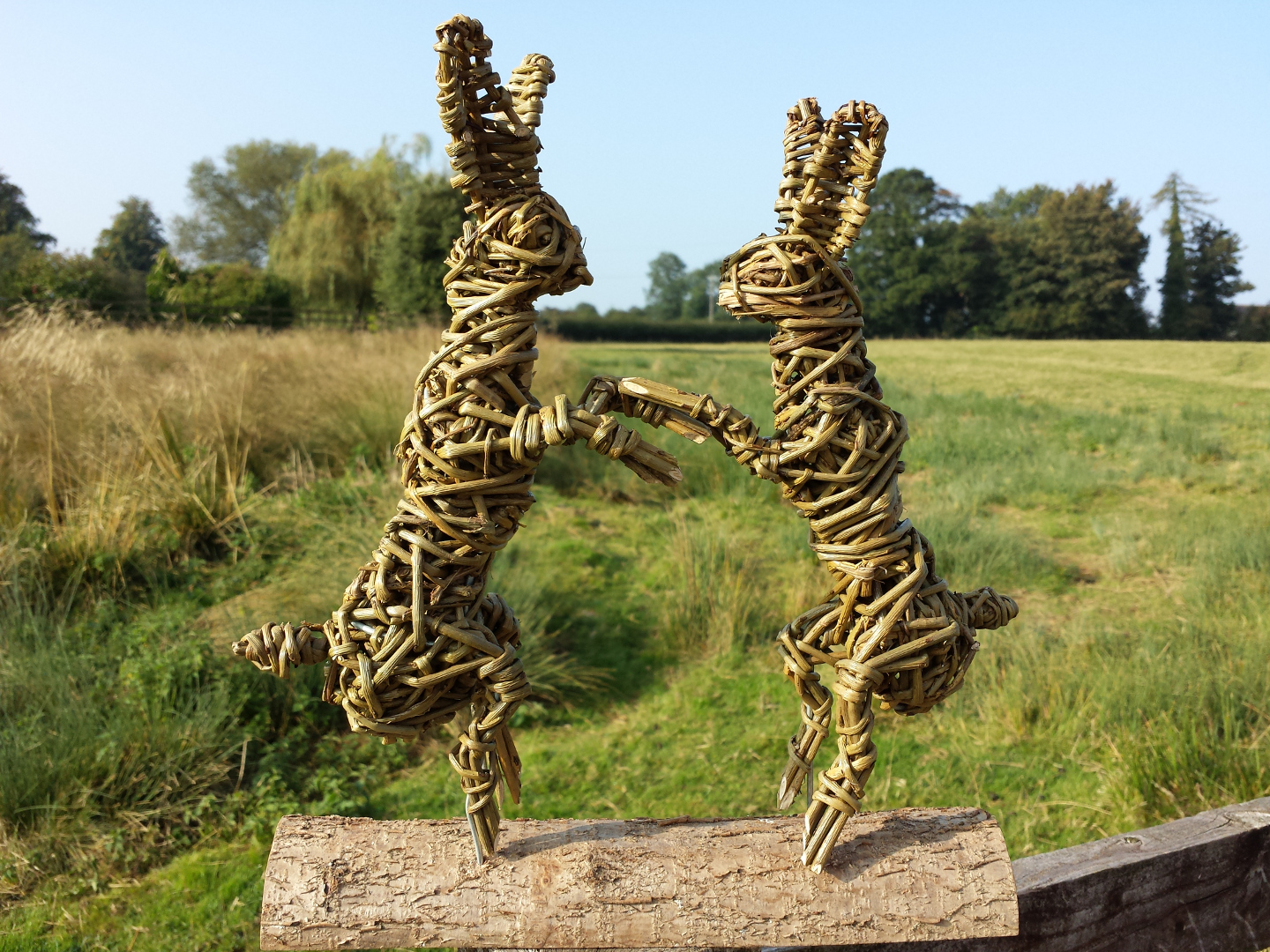 Willow Boxing hares miniature