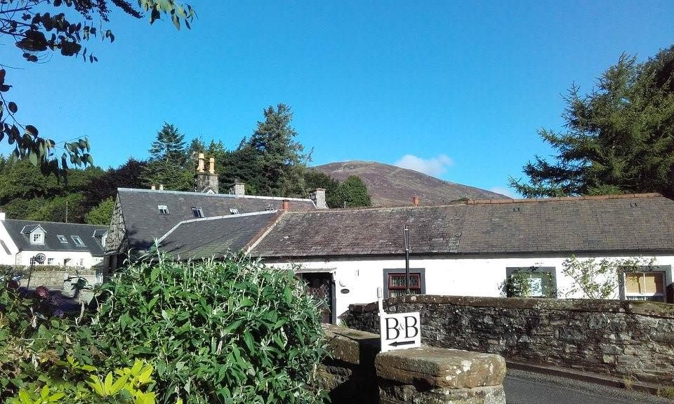 Looking out over Kirkbean from Grovewood House's garden to Criffel