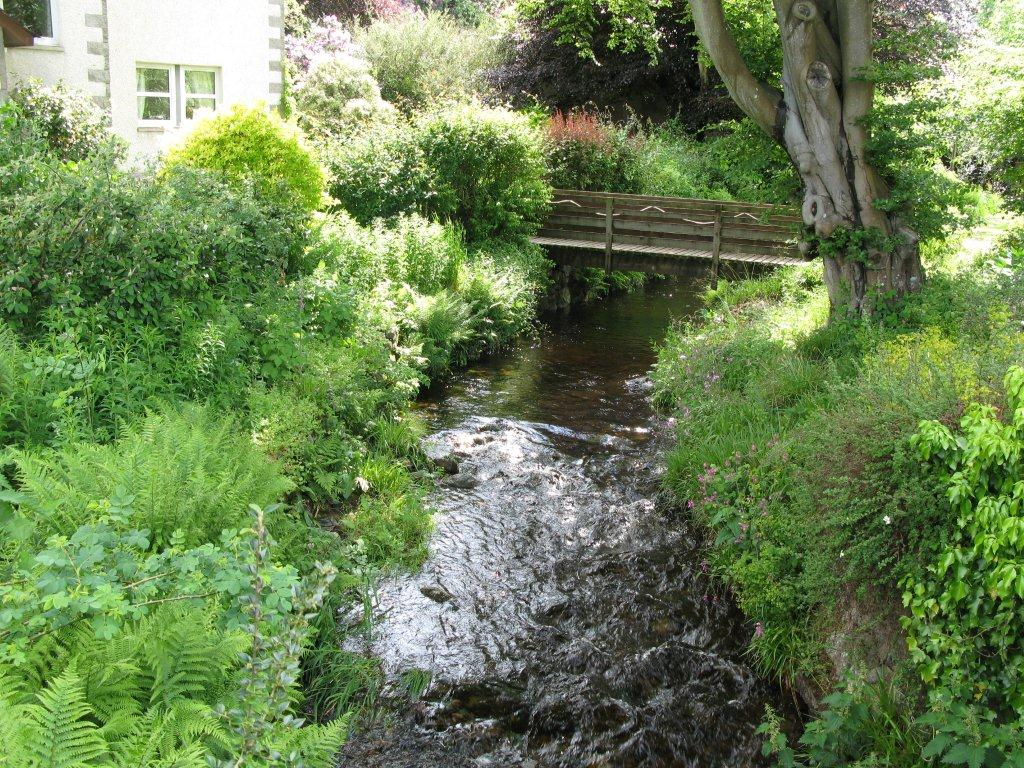 The small stream or 'burn' running through the garden of Grovewood House, Kirkbean, Dumfries and Galloway, Scotland