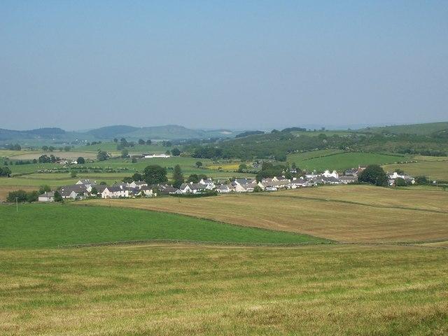 Crocketford village pictured from Crocketford Hill.