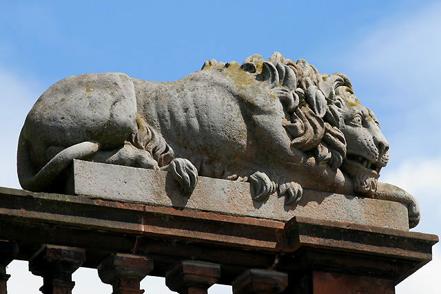 A Lion on the ballustrade of Lochmaben Town Hall