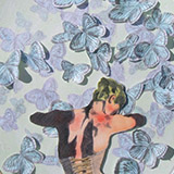 Woman with blue butterflies