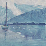 Painting of boat in Antarctica