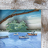 Boats on water in a driftwood frame