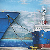 Painting of ships in harbour
