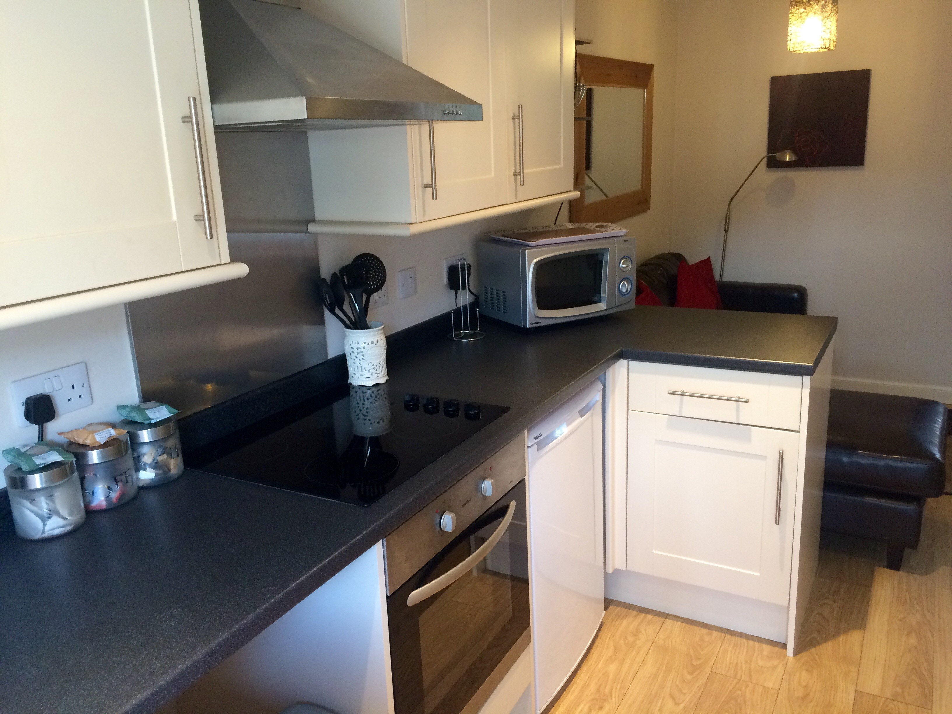 The kitchen in Curlywee Cottage holiday accommodation in south west Scotland
