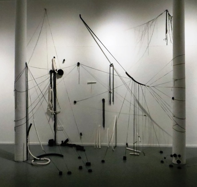 Installation for CAP exhibition - recycled inner tubes, spokes and plaster casts