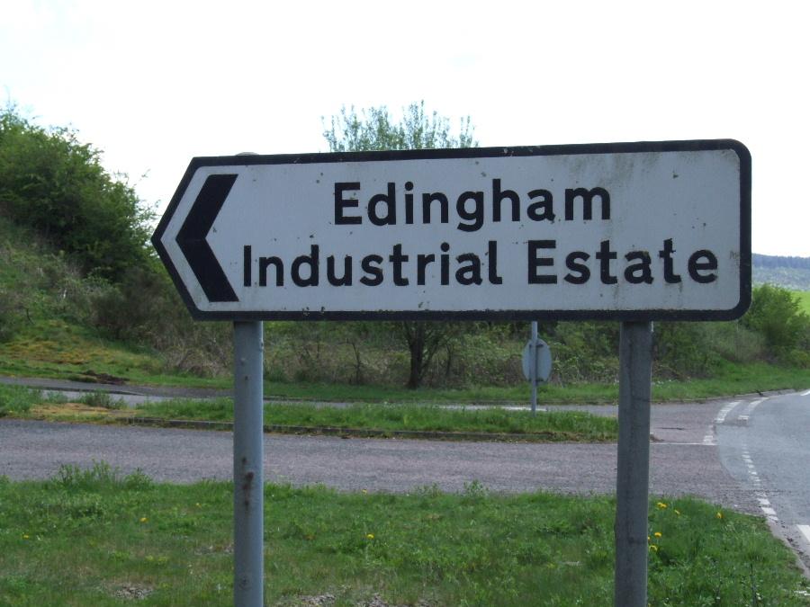 Signpost to Edingham Industrial Estate near Dalbeattie