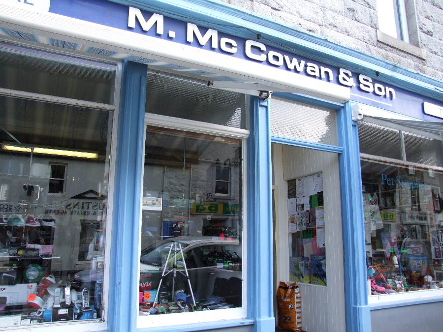 M McCowan and Son Dalbeattie for fishing supplies, electricals, pet supplies, sports equipment and toys