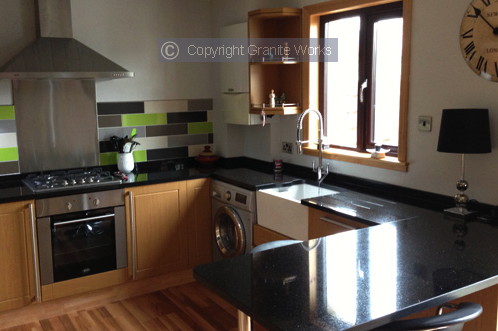 A stunning set of modern kitchen worktops made to measure by Granite Works Ltd of Dumfries