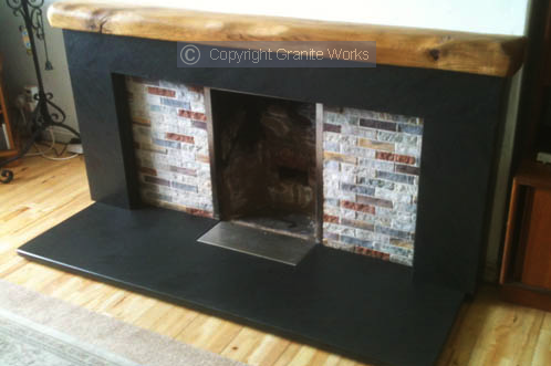 Granite and slate fireplace hearth from Granite Works Ltd of Dumfries