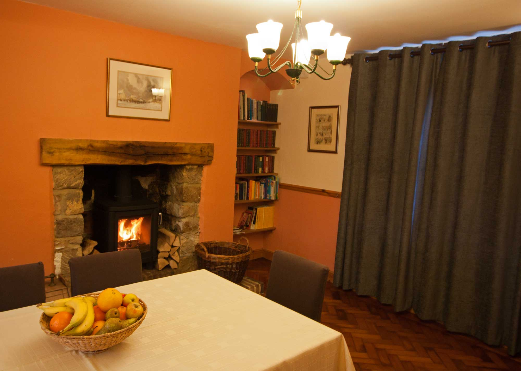 Dinning Room with wood burning stove. Whitby; Cottages