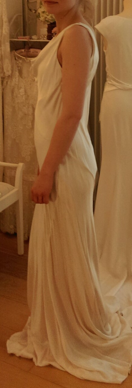 A beautiful bias cut wedding dress available from our  bridal shop in Brighton Sussex UK