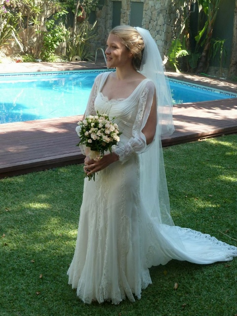Beautiful silk wedding gown from New Zealand designer A La Robe, two piece consisting of a long silk slip and soft net overskirt. Perfect for a destination wedding.