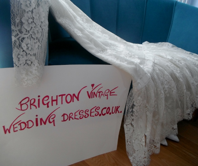 one of our real brides at Brighton Vintage Wedding Dresses.