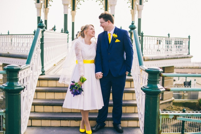 Vintage inspired 50s tea length wedding dress in Brighton