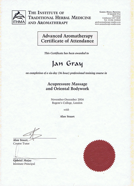 Advanced Aromatherpy Certificate of Attendance