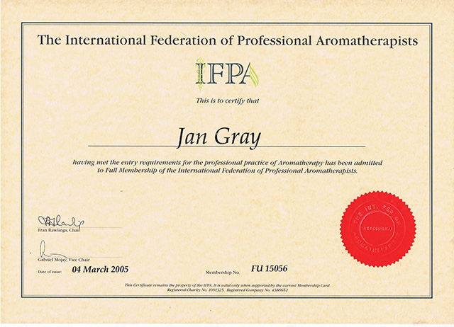 The International Federation of Professional Aromatherapists Membership Certificate