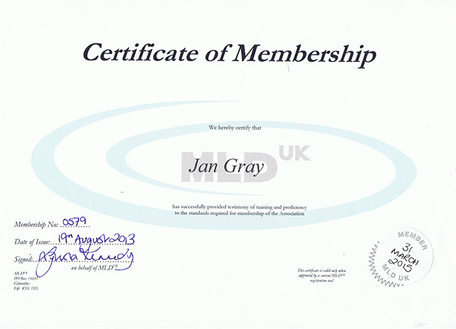 MLD UK Membership Certificate
