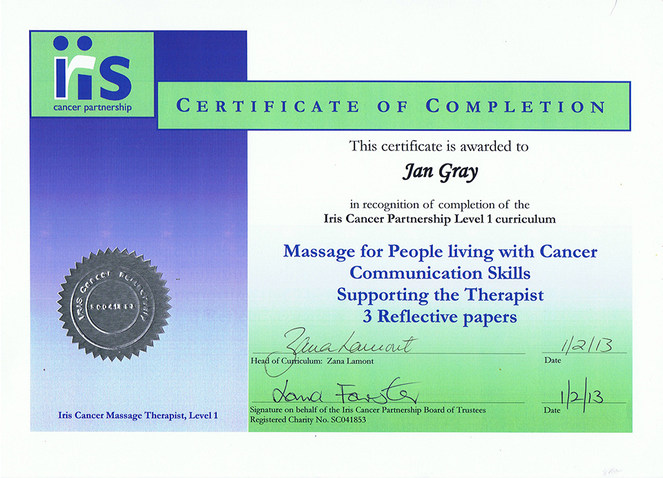 Iris Cancer Partnership Level 1 Curriculum Certificate
