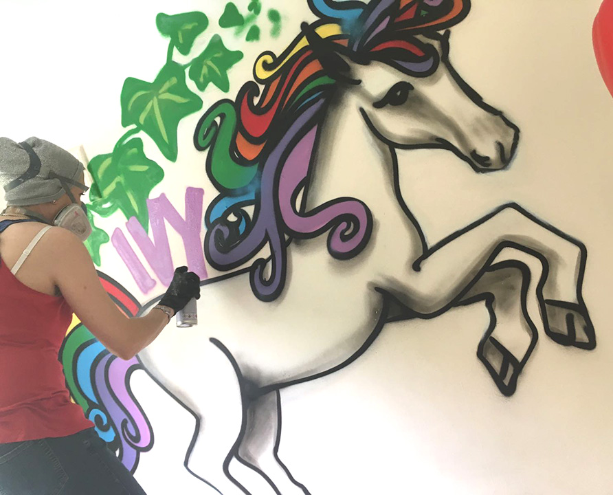 Rainbow Unicorn Bedroom Graffiti