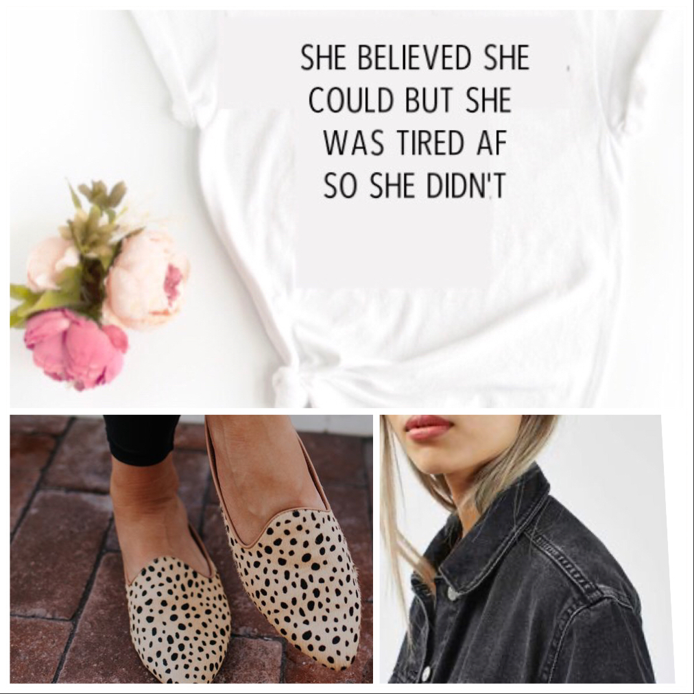 'She believed she could but she was tired AF' Ladies Organic Slogan Tee