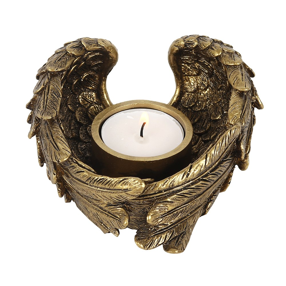 ANTIQUE GOLD ANGEL WING TEALIGHT CANDLE HOLDER