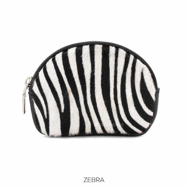 Small Leather Purse with Zebra Print
