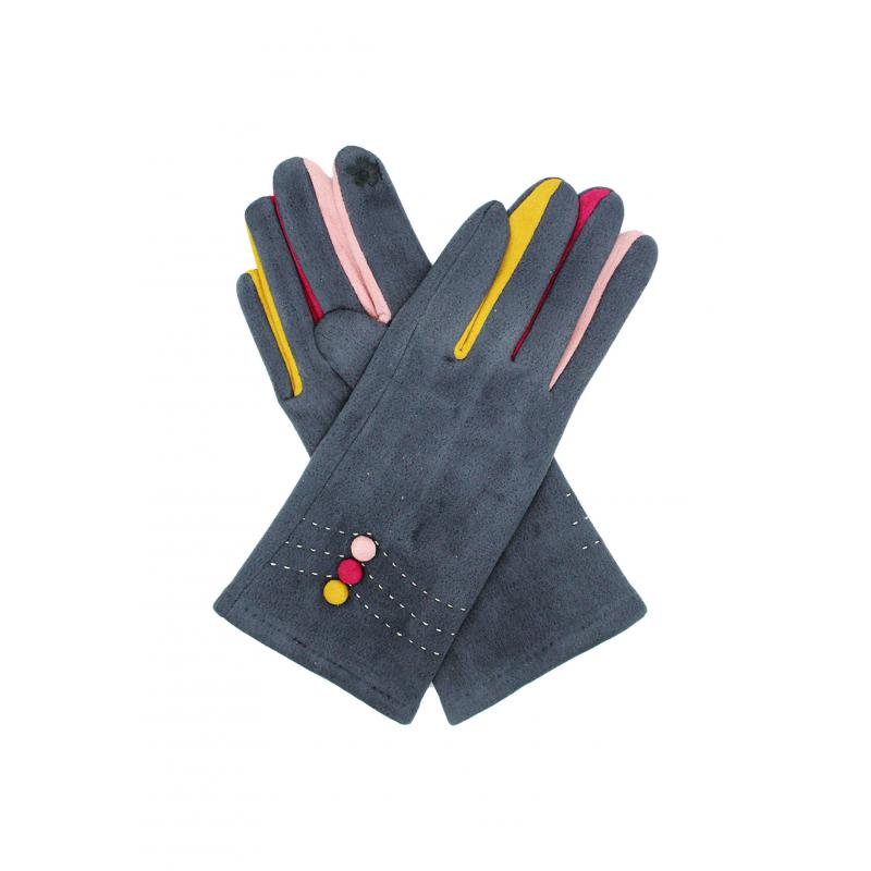 Grey Suede Effect Gloves with Multi-Fingers and Buttons