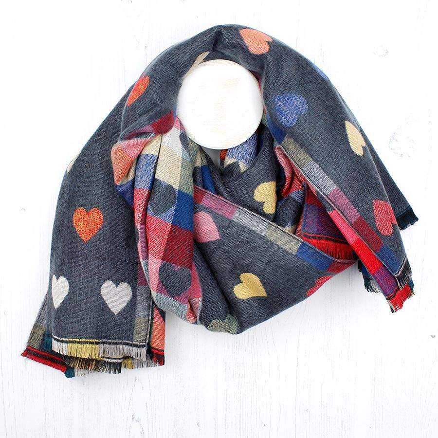 Reversible Grey Scarf with Hearts