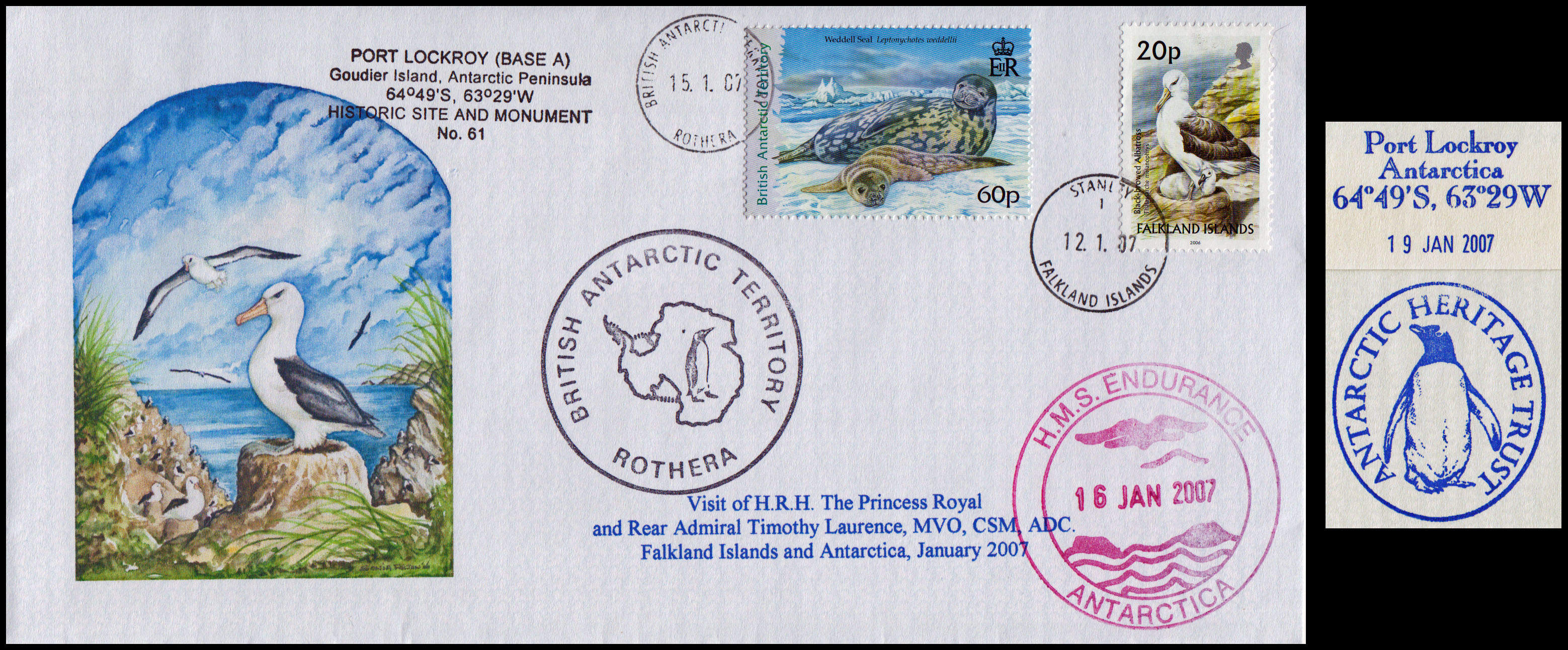 Visit of the Princess Royal to Antarctica. The cover was flown from Stanley to Rothera on the Dash 7