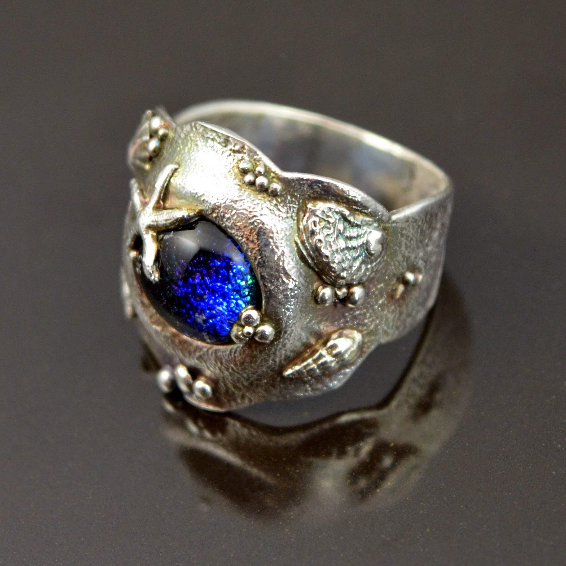 Glass and Silver Ocean Ring by Tracey Spurgin of Craftworx Jewellery Workshops