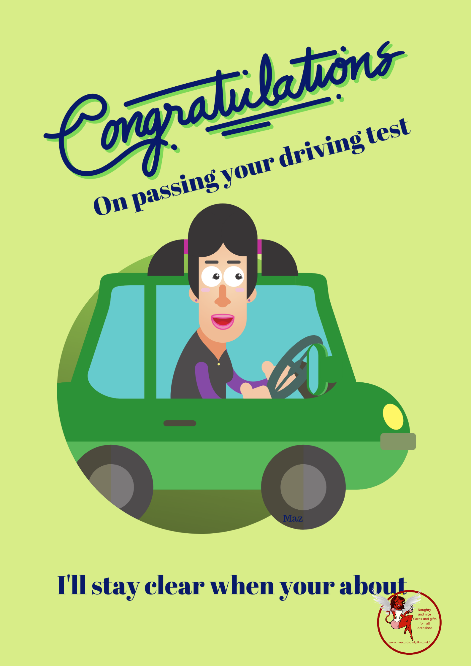 Congratulations - Passing your driving test - Female - Order No 092
