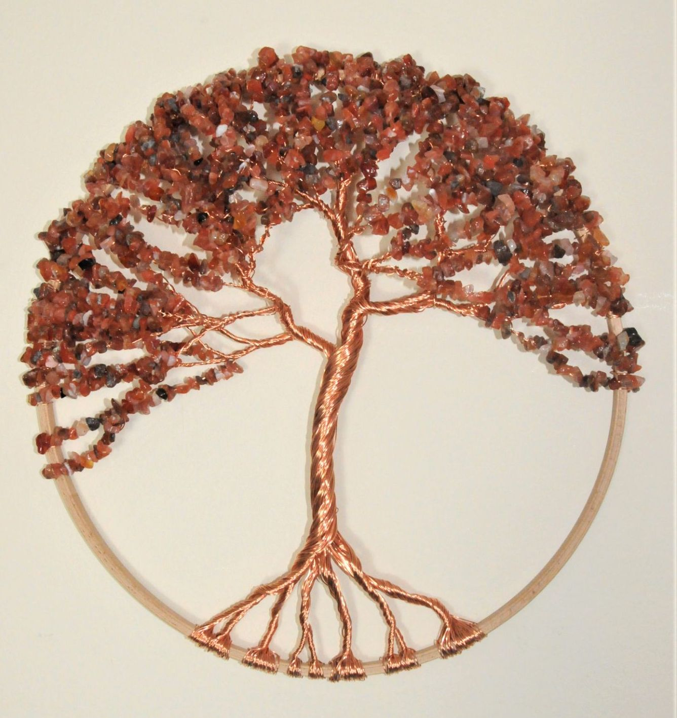 "Autumnal Tree of Life Sculpture in a 12"" natural wood frame with antique bronze wire and Carnelian gemstones"
