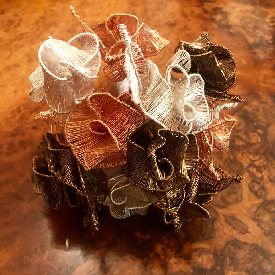 Rose Wedding Bouquet made from wire